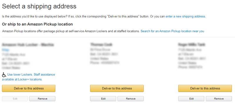 shipping address on Amazon