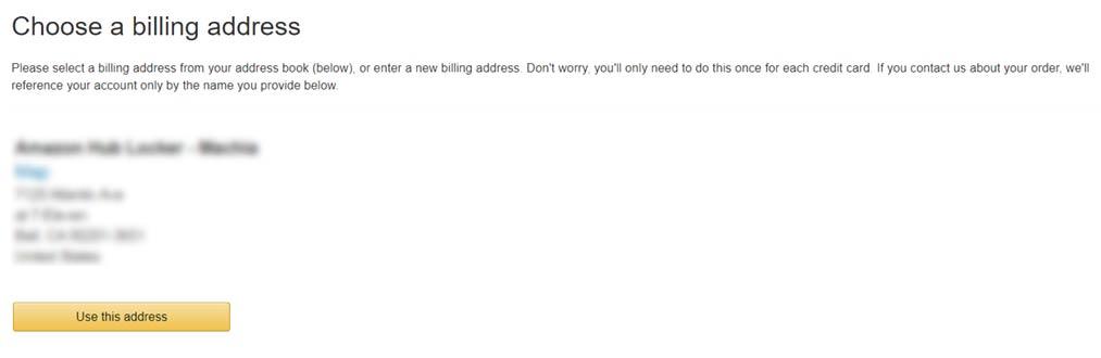billing address on Amazon