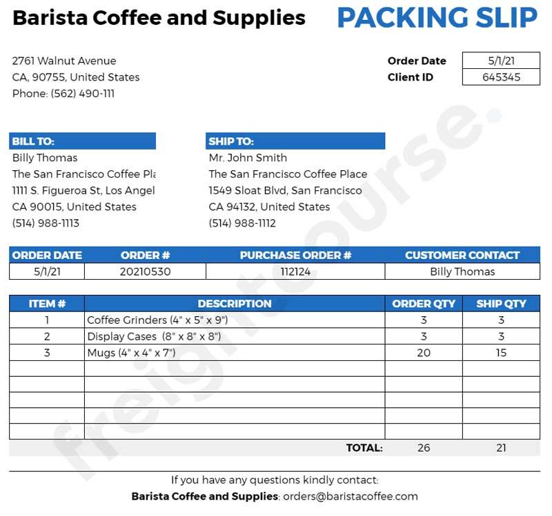 packing slip sample