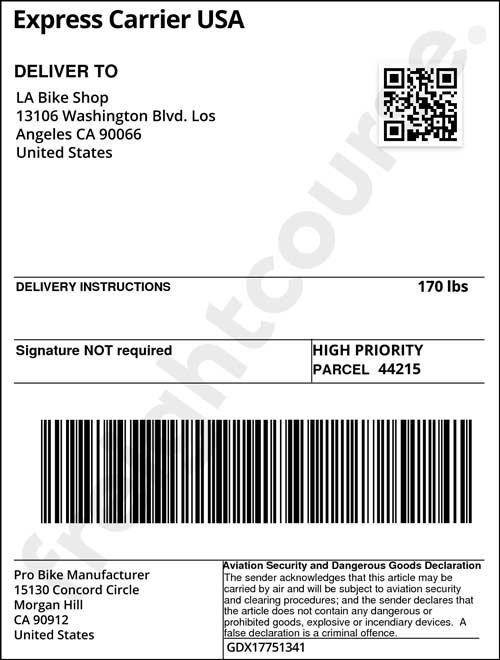 shipping label sample