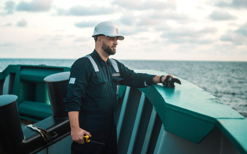 crew member on container ship